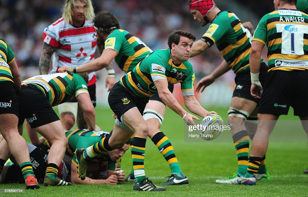 Lee Dickson of Northampton looks to pass to a team mate during the Aviva Premiership match between Gloucester Rugby and Northampton Saints at Kingsholm on May 07, 2016 in Gloucester, England.