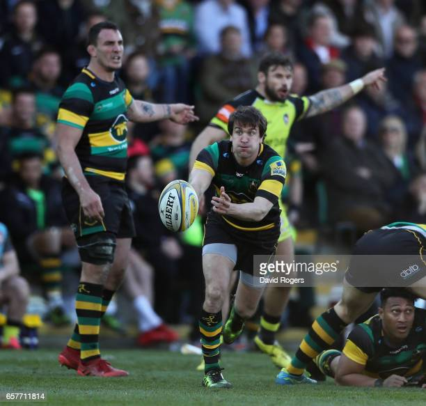 Lee Dickson of Northampton passes the ball during the Aviva Premiership match between Northampton Saints and Leicester Tigers at Franklin's Gardens...
