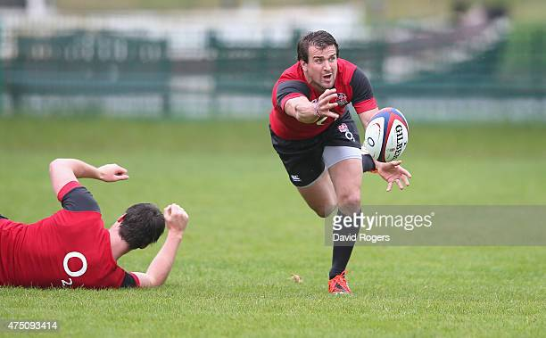 Lee Dickson passes the ball during the England training session held at the Lensbury Club on May 29 2015 in Teddington England