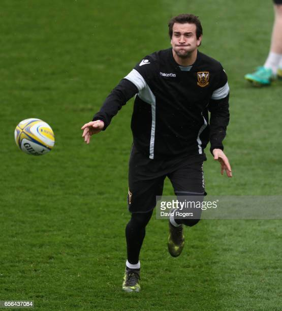 Lee Dickson passes the ball during the Northampton Saints training session held at Franklin's Gardens on March 22 2017 in Northampton England