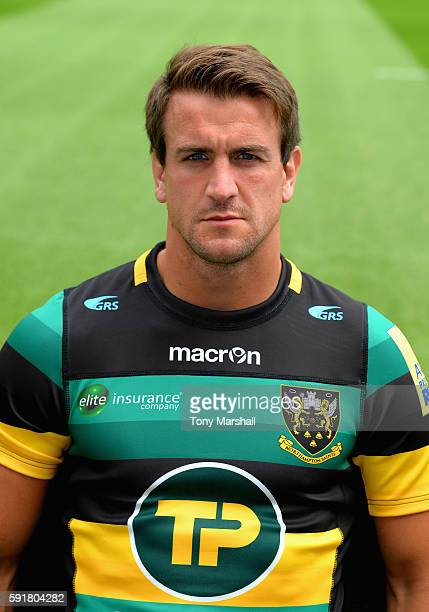 Lee Dickson poses for a portrait during the Northampton Saints squad photocall for the 20162017 Aviva Premiership Rugby season on August 18 2016 in...