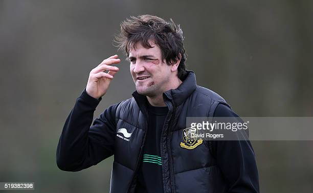 Lee Dickson shows the scars of last Sundays match against Wasps during the Northampton Saints training session held at Franklin's Gardens on April 6...