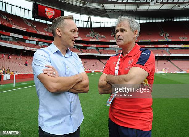 Lee Dixon and Anders Limpar of Arsenal Legends before the Arsenal Foundation Charity match between Arsenal Legends and Milan Glorie at Emirates...