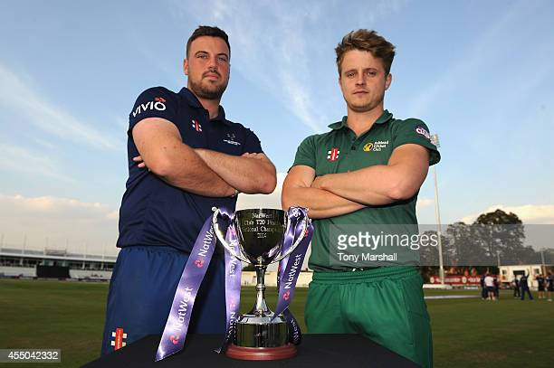 Lee Dixon Captain of Chester Boughton Hall Cricket Club and Tom Deighton Captain of Ashtead Cricket Clubpose with the Trophy before the final between...