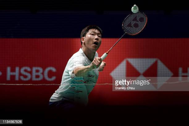 Lee Dong Keun of South Korea in action on day two of the Badminton Malaysia Open at Axiata Arena on April 3 2019 in Kuala Lumpur Malaysia