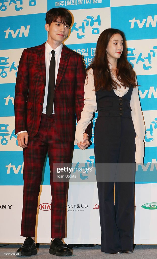 Lee Dongwook and Jung Ryeowon attend the TVN drama 'Bubble Gum' press conference at Patio9 on October 19 2015 in Seoul South Korea