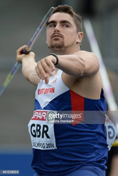 Lee Doran of Great Britain competes in the Men's Javelin Throw during second day of the European Athletics Team Championship at Eintracht Stadion on...