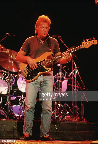 Lee Dorman plays bass during an Iron Butterfly set at Madison Square Garden during the Atlantic Records 40th Anniversary concert