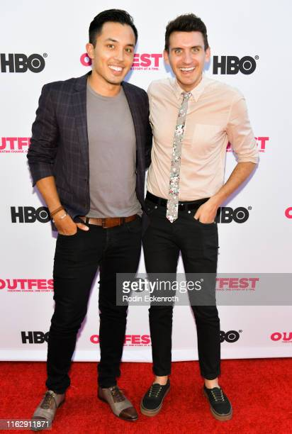 Lee Doud and Brandon Kirby attend the Outfest Los Angeles LGBTQ Film Festival Opening Night Gala premiere of Circus Of Books at Orpheum Theatre on...
