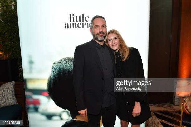 Lee Eisenberg and Emily Jane Fox attend the premiere of Apple TV's Little America afterparty on January 23 2020 in West Hollywood California