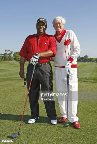 Lee Elder and Doug Sanders pose on the first tee during the final round of the Demaret competition at the Liberty Mutual Legends of Golf at Westin...