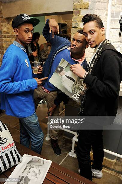Lee Elias Jaiden James and Bambi attend the launch of Casio London's Global Concept Store in Covent Garden Piazza on April 18 2012 in London England