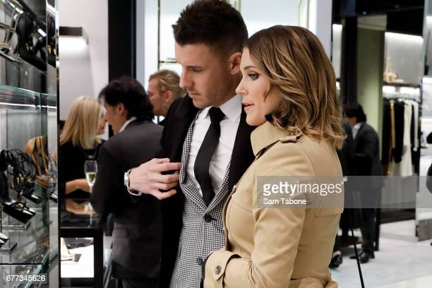 Lee Elliot and Georgia Love arrive for the Tom Ford StoreInStore Launch at Collins St Harrolds on May 3 2017 in Melbourne Australia
