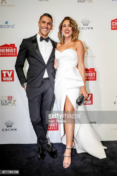 Lee Elliot and Georgia Love arrives at the 59th Annual Logie Awards at Crown Palladium on April 23 2017 in Melbourne Australia