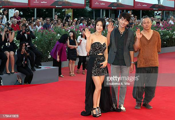 Lee EunWoo Seo Young Joo and Kim Kiduk attend the Moebius Premiere during the 70th Venice International Film Festival at Sala Grande on September 3...