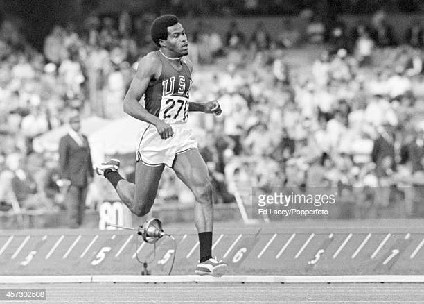 Lee Evans of the United States winning the men's 400 metres event during the Summer Olympic Games in Mexico City circa October 1968