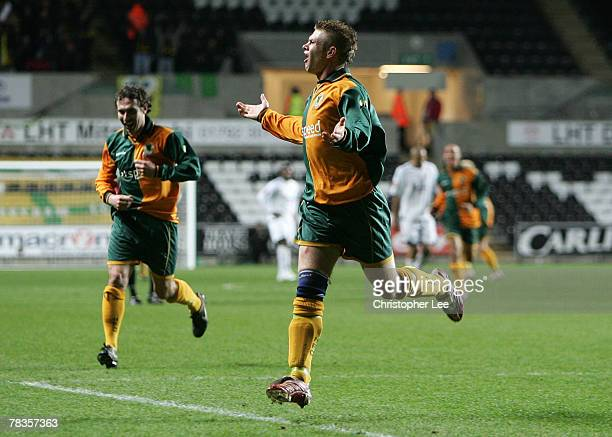 Lee Ferrell of Horsham celebrates scoring their second goal during the FA Cup Sponsored by e.on Second Round Replay match between Swansea City and...
