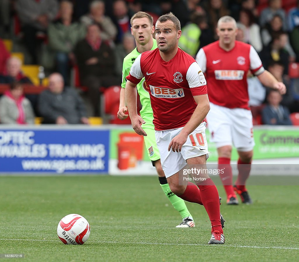 Lee Fowler of Fleetwood Town in action during the npower League Two match between Fleetwood Town and Northampton Town at Highbury Stadium on September 15, 2012 in Fleetwood, England.