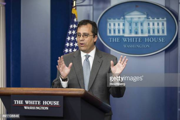 Lee Francis Cissna director of the US Citizenship and Immigration Services speaks during the White House press briefing in Washington DC US on...