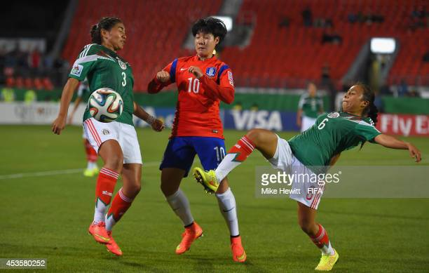 Lee Geummin of Korea battles for the ball with Estefania Fuentes and Karla Nieto of Mexico during the FIFA U20 Women's World Cup Canada 2014 Group D...