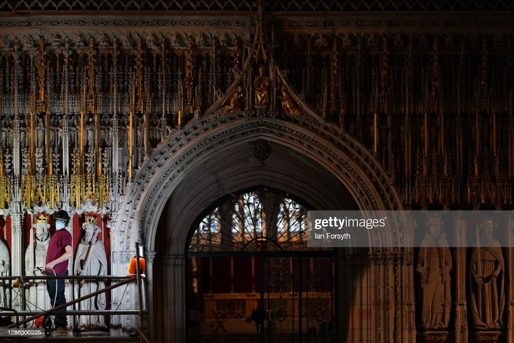 York Minster's 15th Century Pulpitum Is Cleaned In Once A Century Renovation : News Photo