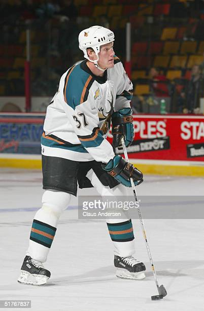 Lee Goren of the Manitoba Moose warms up prior to the game against the Hamilton Bulldogs at the Copps Coliseum on October 17 2004 in Hamilton Ontario...