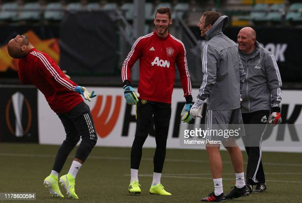Lee Grant, David de Gea, Goalkeeping coach Richard Hartis and Goalkeeping Coach Alan Fettis of Manchester United in action during a first team...
