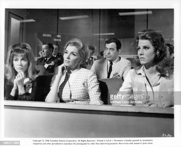 Lee Grant Nancy Kovack and Mariette Hartley sitting in concern in a scene from the film 'Marooned' 1969