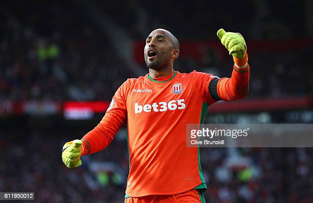 Lee Grant of Stoke City celebrates after the game during the Premier League match between Manchester United and Stoke City at Old Trafford on October...