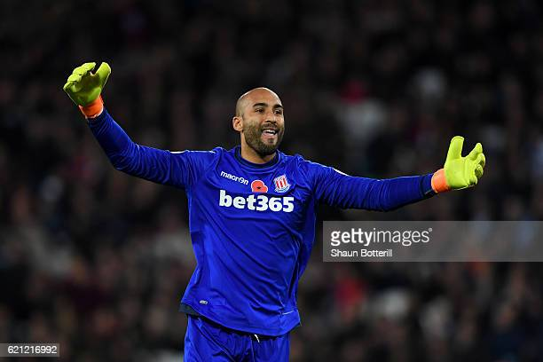 Lee Grant of Stoke City celebrates his sides goal during the Premier League match between West Ham United and Stoke City at Olympic Stadium on...