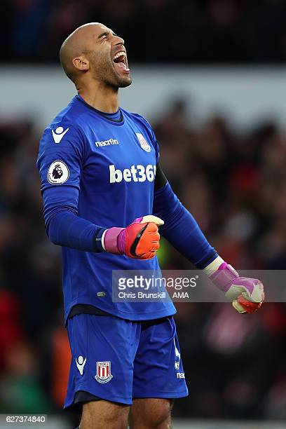 Lee Grant of Stoke City celebrates his side's second goal during the Barclays Premier League match between Stoke City and Burnley at Bet365 Stadium...