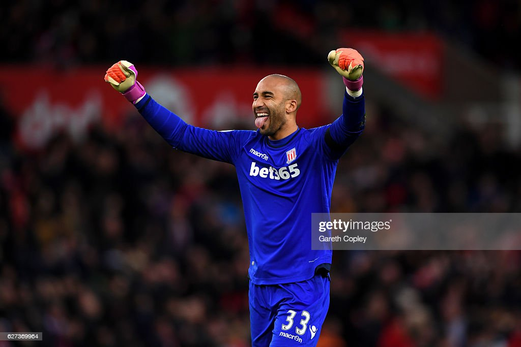 Lee Grant of Stoke City celebrates his team's second goal during the Premier League match between Stoke City and Burnley at Bet365 Stadium on December 3, 2016 in Stoke on Trent, England.