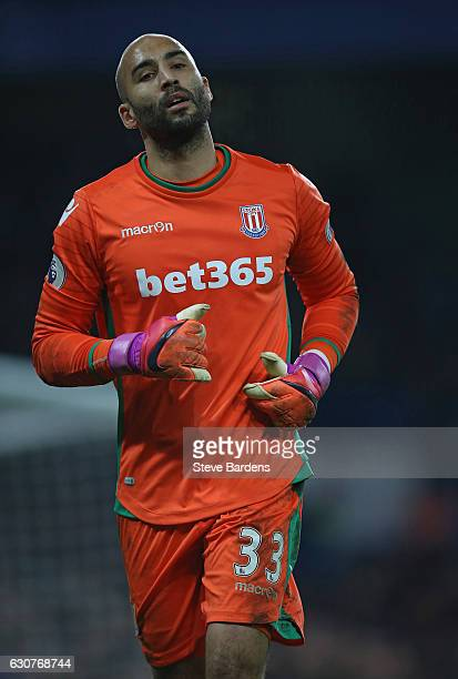 Lee Grant of Stoke City during the Premier League match between Chelsea and Stoke City at Stamford Bridge on December 31 2016 in London England