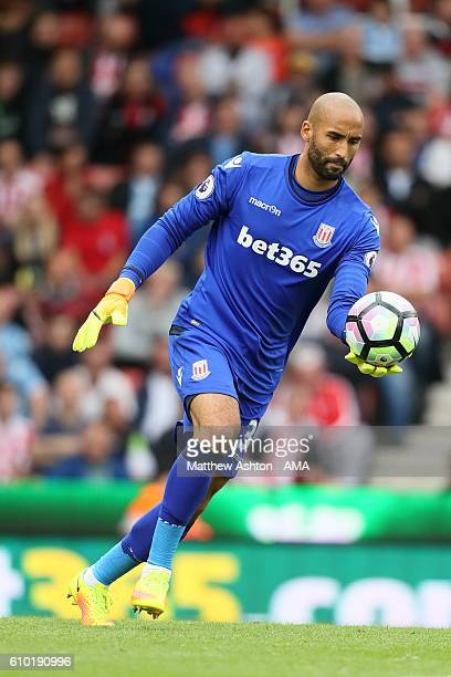 Lee Grant of Stoke City during the Premier League match between Stoke City and West Bromwich Albion at Bet365 Stadium on September 24 2016 in Stoke...