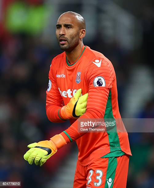 Lee Grant of Stoke City during the Premier League match between Stoke City and AFC Bournemouth at Bet365 Stadium on November 19 2016 in Stoke on...