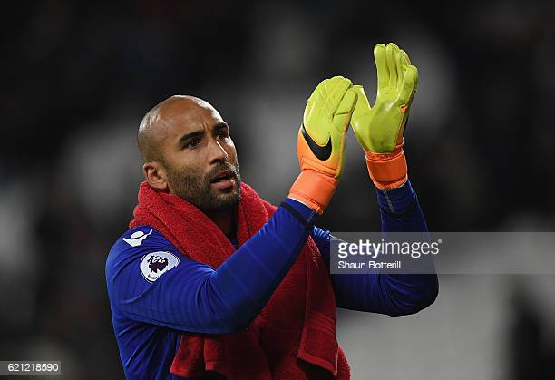 Lee Grant of Stoke City during the Premier League match between West Ham United and Stoke City at Olympic Stadium on November 5 2016 in London England