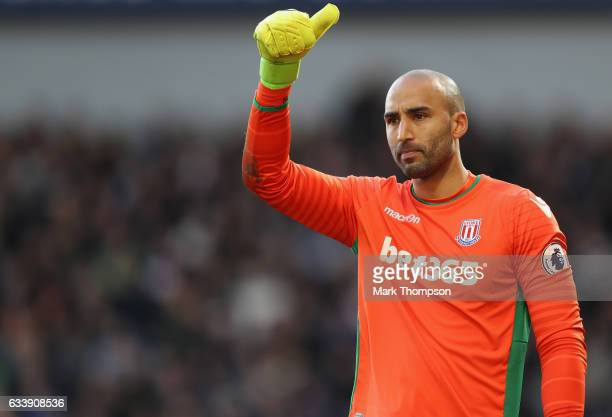 Lee Grant of Stoke City in action during the Premier League match between West Bromwich Albion and Stoke City at The Hawthorns on February 4 2017 in...