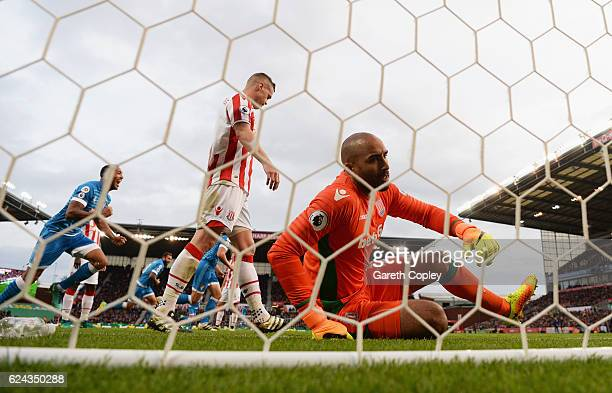 Lee Grant of Stoke City is dejected after Nathan Ake of AFC Bournemouth scores his sides first goal during the Premier League match between Stoke...