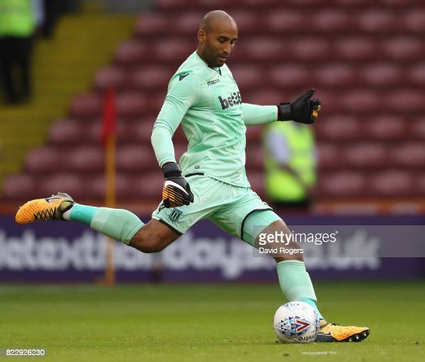 Lee Grant of Stoke City kicks the ball during the pre season friendly match between Sheffield United and Stoke City at Bramall Lane on July 25 2017...