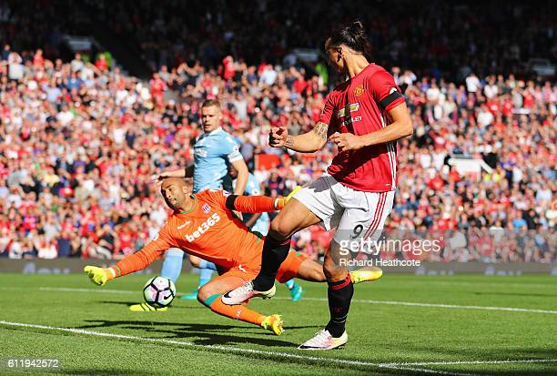 Lee Grant of Stoke City saves Zlatan Ibrahimovic of Manchester United shot during the Premier League match between Manchester United and Stoke City...