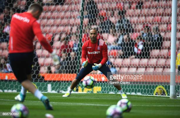 Lee Grant of Stoke City warms up prior to the Premier League match between Stoke City and Hull City at Bet365 Stadium on April 15 2017 in Stoke on...