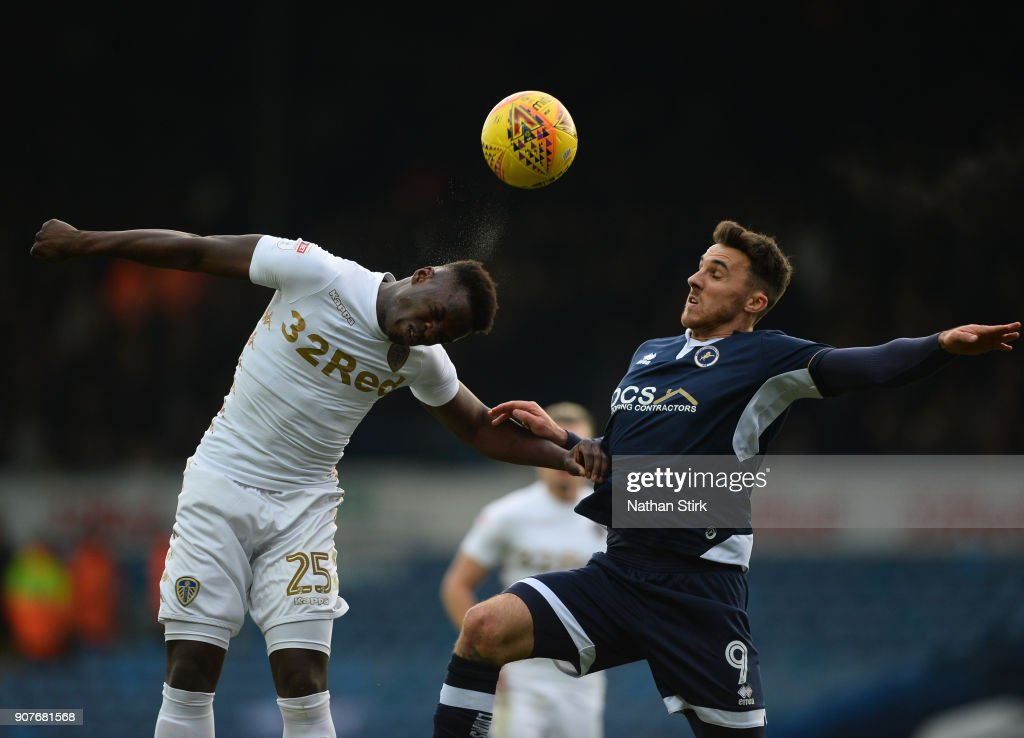 Lee Gregory of Millwall and Ronaldo Vieira of Leeds United in action during the Sky Bet Championship match between Leeds United and Millwall at Elland Road on January 20, 2018 in Leeds, England.