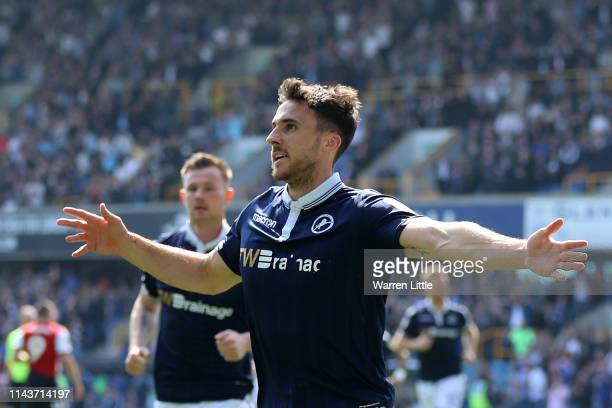 Lee Gregory of Millwall celebrates after scoring his team's first goal during the Sky Bet Championship match between Millwall and Brentford at The...