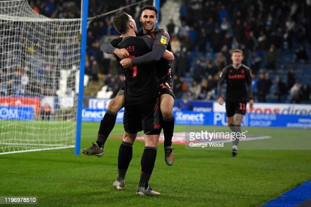 Lee Gregory of Stoke City celebrates after scoring his sides fifth goal during the Sky Bet Championship match between Huddersfield Town and Stoke...