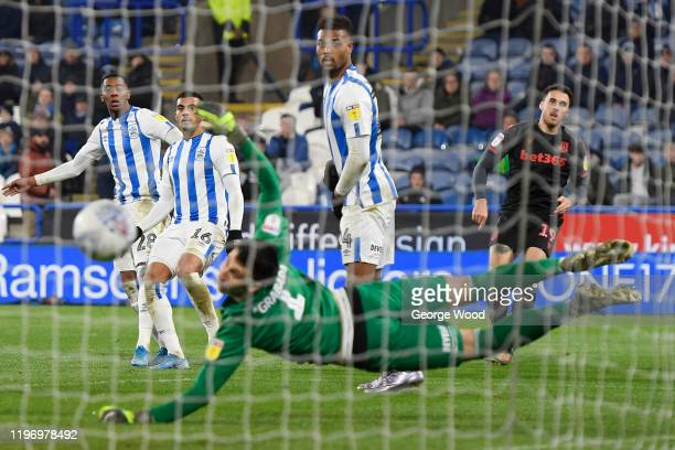 Lee Gregory of Stoke City scores his sides fifth goal during the Sky Bet Championship match between Huddersfield Town and Stoke City at John Smith's...