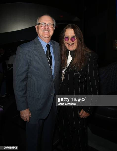 Lee Greytak and Ozzy Osbourne impersonator Don Rugg attend The Reel Awards 2020 at Marilyn's Lounge inside the Eastside Cannery Casino Hotel on...