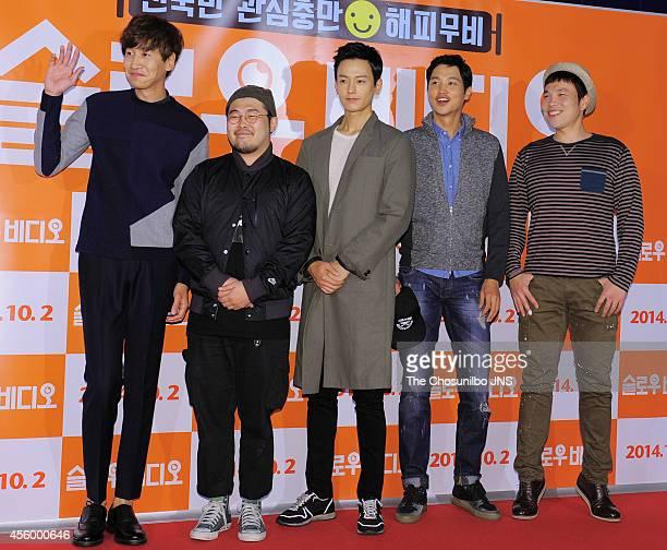 Lee GwangSoo Kim KiBang Lim JuHwan Song JongHo and Shin SeungHwan pose for photographs during the movie 'Slow Video' VIP premiere at COEX Megabox on...