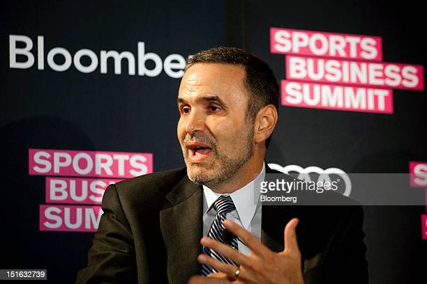 Lee H Berke president and chief executive officer of LHB Sports Entertainment Media Inc speaks at the Bloomberg Sports Business Summit in New York US...