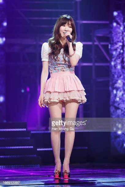 Lee HaeRi of South Korean girl group Davichi performs onstage during the Mnet 'M Countdown' at CJ EM Center on April 18 2013 in Seoul South Korea