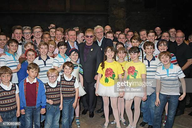 """Lee Hall, Sir Elton John and Stephen Daldry pose with cast as """"Billy Elliot The Musical"""" celebrates its 10th Anniversary in London's West End at the..."""